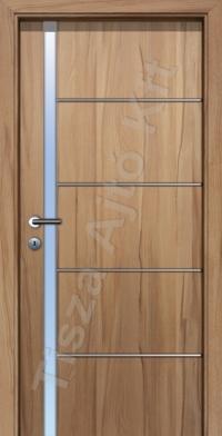 beltéri ajtó Debrecen, edzett üveges kivitel, króm csíkkal, utólag szerelhető tok szerkezettel