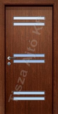 beltéri ajtó Debrecen, dekorfóliás kialakítás, savmart üveggel, utólag szerelhető tokkal, köszöb nélkül, dió színben