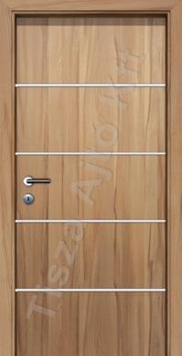 beltéri ajtó Debrecen, utólag szerelhető belső ajtó króm csíkkal és horizontális mintázattal, küszöb nélküli kialakítás