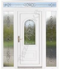 Fehér díszüveges kétszárnyú műanyag bejárati ajtó