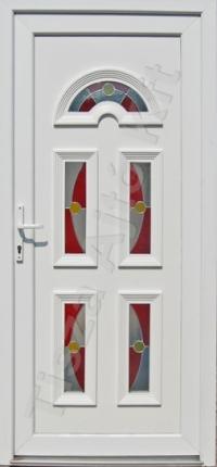 ajtó Debrecen, fehér felülettel, katedrál üveggel, öt pontos biztonsági zárral, egyedi méret felár nélkül